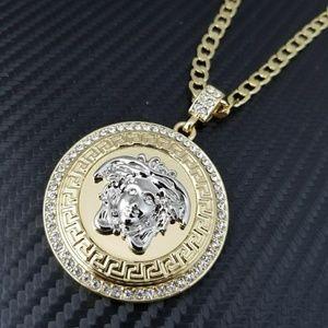 14K gold plated Medusa pendant & cuban chain